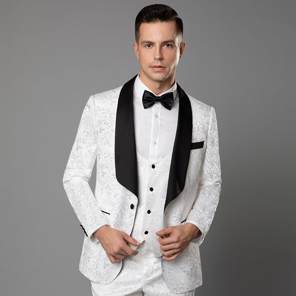 White Lace Embroidery Mens Formal Wedding Tuxedos Party Celebrity Wears Bridegroom Mens Best Mens Wedding Suits Blazers Free Shipping