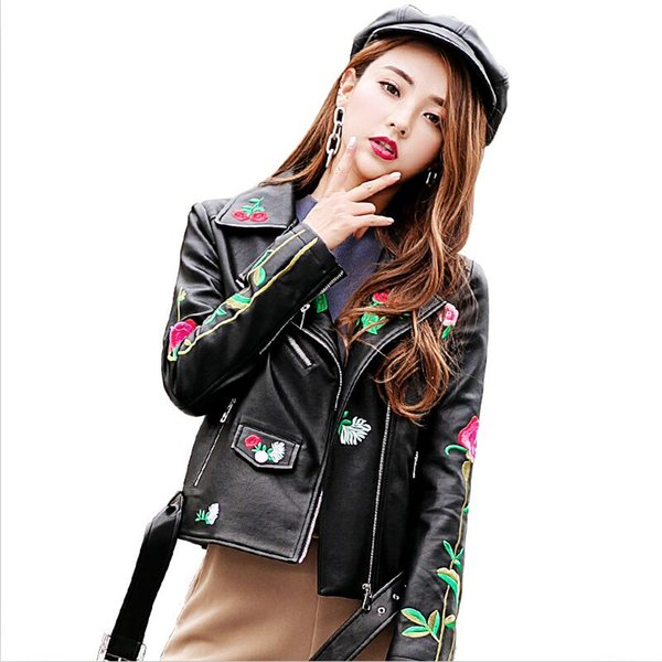 Embroidery Print Leather Jacket Women 2019 New Leather Coat Women Outerwear Short Slim Motorcycle Female Clothing Black
