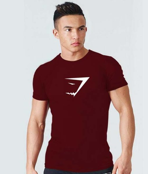 best selling 2019 gym new fashion Men's Summer Large Round-collar and Short-sleeved Sports Leisure Cotton Short-sleeved Round-collar T-shirt Shark Head