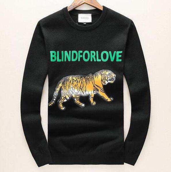 2019 ricamo testa di tigre maglione uomo donna manica lunga di alta qualità O-collo pullover ricamo puro cotone spugna KZ 20 COLORI M - XXXL # 020