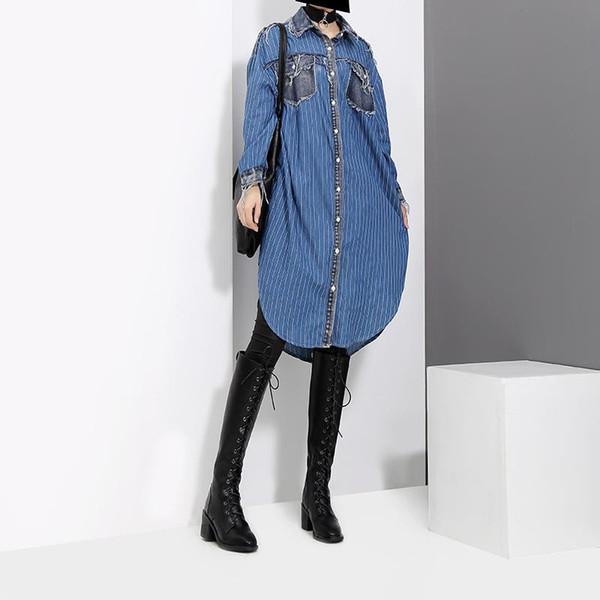 2019 Kadın Sonbahar Mavi Çizgili Denim Gömlek Elbise Cep Saçaklar Ile Uzun Kollu Kadın Artı Boyutu Rahat Midi Elbise Tarzı F727