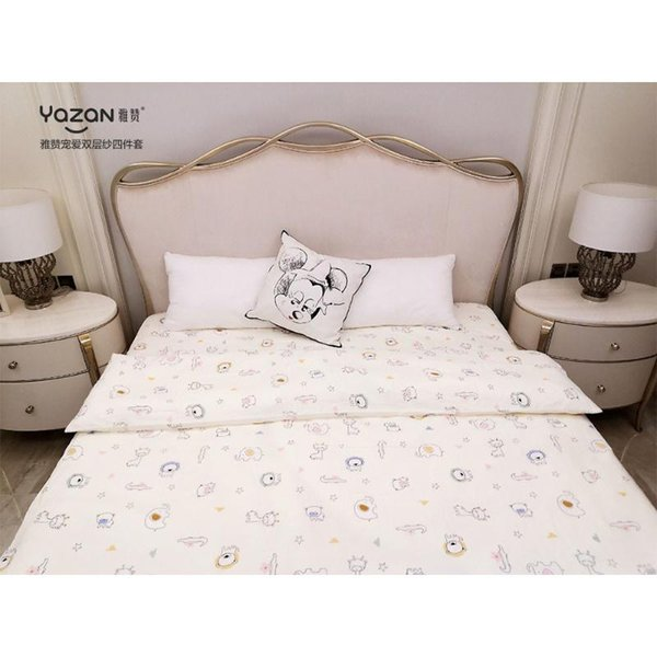 best selling YAZAN The high quality bedding set with 100% cotton Pure and fresh pattern Simplicity Bed sheet quilt cover pillowcase4pcs