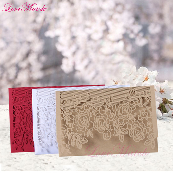Laser Cut Cover Lace Flower Invitation Card Delicate Wedding Favor Greeting Card For Guest Party Decoration Marriage Handmade Cards Happy Birthday