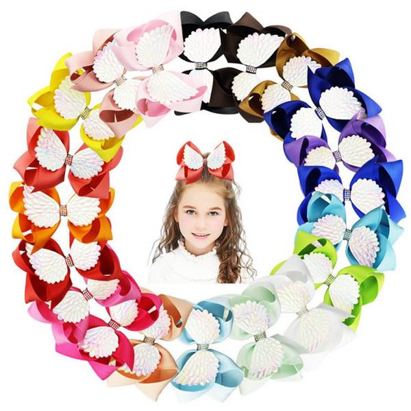 Jojo new 20 color angel wings bow horquilla horquilla para niños 6 pulgadas niños con accesorios para el cabello de diamantes tarjeta de papel