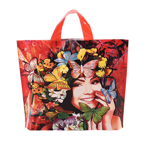100PCS / LOT Red Plastic Gift Bag Boutique Carrier Shopping Wedding Bags Girl Print Plastic Gift Bags With Handles