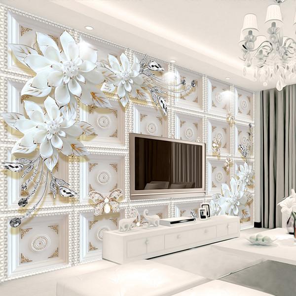Özel 3D Duvar Resimleri Duvar Kağıdı Duvar Boyama Stereoskopik Kabartma Takı Çiçekler 3D Oturma Odası TV Zemin Duvar De Parede 3D