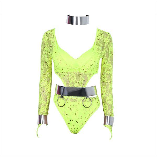 Fashion Women Stage Costume Lace Bodysuit Pole Dance Jumpsuit Jazz Rave Clothes Gogo Performance Clothing Dancer Outfit DC1031