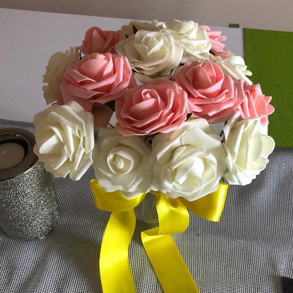 100pcs PE Kunststoff Rose Kopf Künstlichen Blume Partei Braut Hochzeit