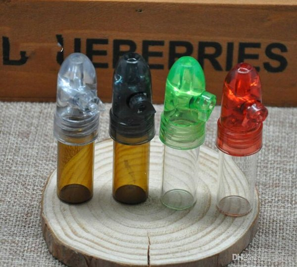 Wholesale 48pcs Bullet head small Glass bottle pill box snuff snorter bottle rolling machine shisha hookah smoking pipe