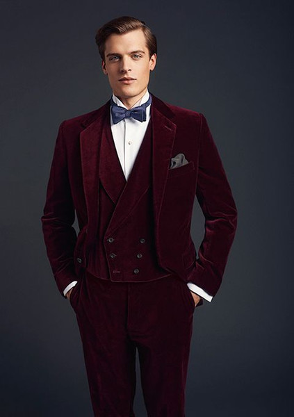 Burgundy Velvet Groom Tuxedos Notch Lapel Groomsmen Wedding Dress Autumn Winter Style Men Formal Party Prom Suit(Jacket+Pants+Tie+Vest) 900