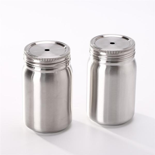 17 oz Mason fincan kapaklı paslanmaz çelik su bardak saman ile çift duvar içme bardak vakum yalıtımlı şişesi A02