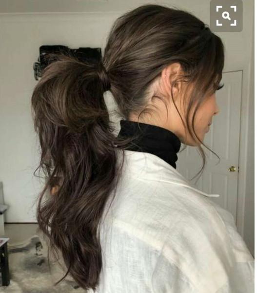 Coda di cavallo a coda di cavallo 20 pollici Coda di cavallo lunga ondulata elastico con coulisse chignon coda di cavallo coda di cavallo brasiliana vergine capelli estensioni per le donne