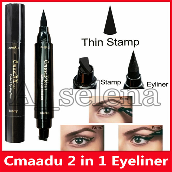 best selling New CMAADU Brand Liquid Eye Liner Pen Make Up Waterproof Black Double-ended Stamp Seal Eyeliner Pencil Cat Eyes Makeup Tool