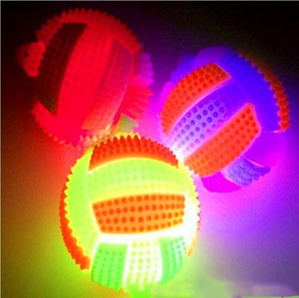Wholesale-LED Light Up Flashing Rubber Sound Volleyball Bumpy Kids Toys High Bouncing Balls Party Favor Halloween Christmas
