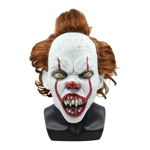 New Horror Funny Movie It Chapter Two Pennywise Cosplay Clown Mask Latex Adult Full Head Scary Halloween Costumes Props Fashion Style Masks