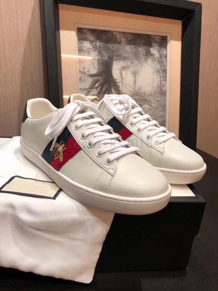 2019 فاخر مصمم الرجال النساء حذاء رياضة الاحذية المنخفضة أعلى إيطاليا ماركة الآس النحل المشارب حذاء المشي الرياضية المدربين chaussures صب أرض الإنسان