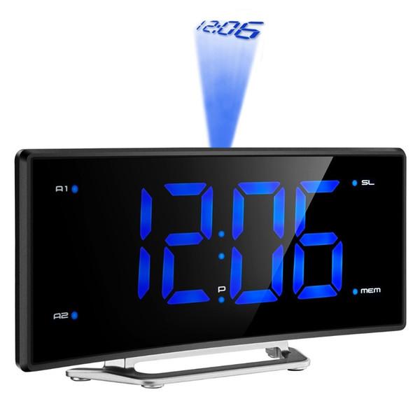 Serrature Orologi Specchio FM Radio Sveglia di proiezione LED Scrivania elettronica digitale Nixie Proiettore da tavolo Orologio Sveglia con proiezione ...