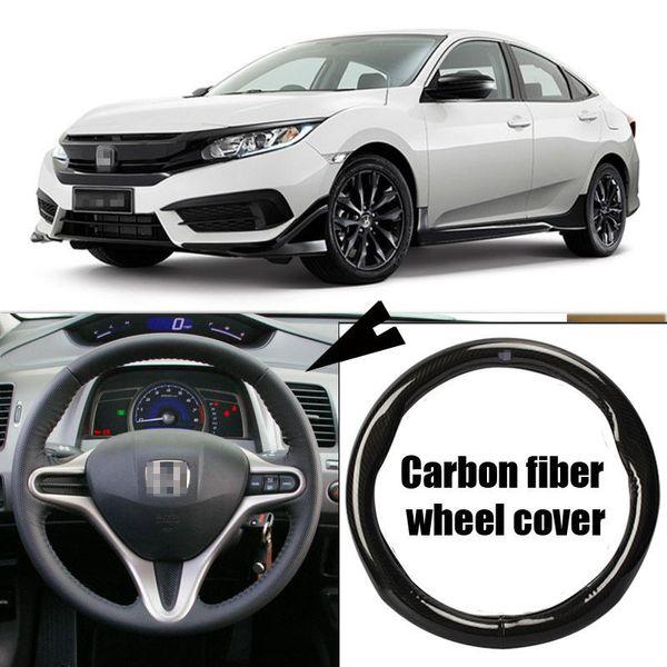 For Honda Civic Car Carbon Fiber Leather Steering Wheel Cover Sport Racing