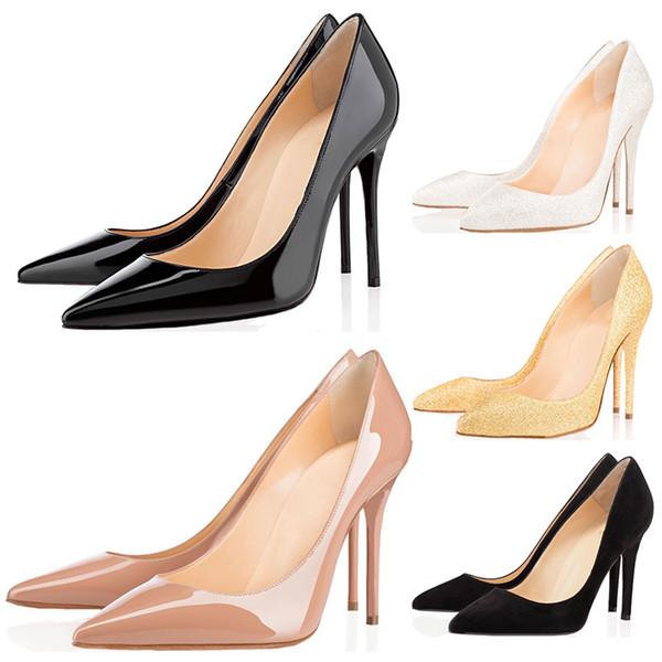 Christian Louboutin ujo barato zapatos de mujer zapatos de tacón alto con fondo rojo 8 cm 10 cm 12 cm Negro desnudo cuero rojo Dedos en punta Bombas Vestido Zapatos de boda