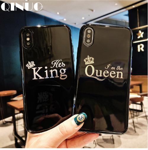 Luxury Couple Case For iPhone 6 6s 7 8 Plus Glossy Crown King Queen Letter Soft TPU Case For iPhone X XS Max XR Cover Capa