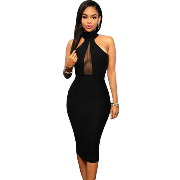 2019 Summer Sleeveless Midi Bodycon Dress Backless Sexy Women Dress Club Wear Elegant Mesh Party Dresses Black S-XLFree Shipping
