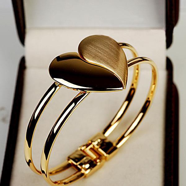 Bracelet & Bangle Womens Fashion Elegant Bangle Gold Tone Cuff Heart Bracelet Bling Hand Chain Charms Bracelets