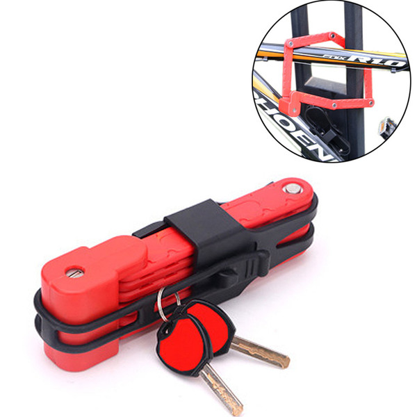 High Strength Alloy Steel Bicycle Foldable Lock Waterproof Anti-theft Durable MTB Road Bike Lock with 2 Key Cycling Accessories