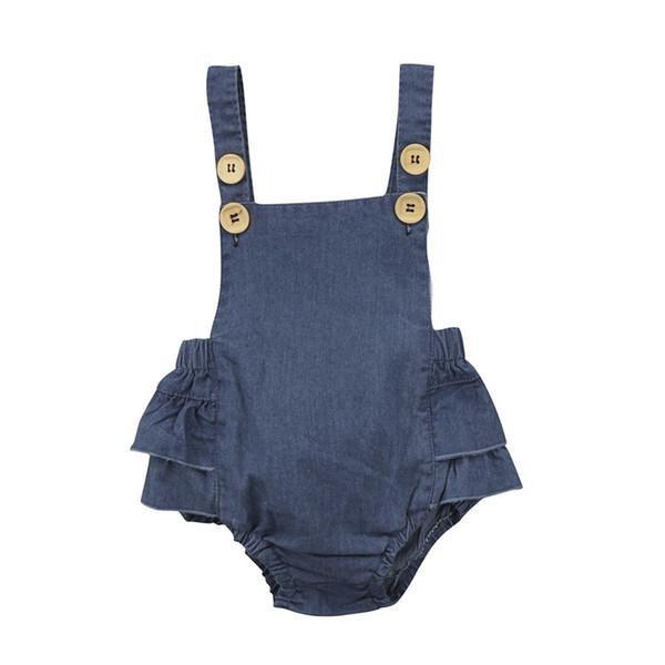 Hot Sale Denim Sleeless Romper Newborn Baby Girl Ruffle Jeans Romper 2018 Summer Fashion Jumpsuit PP Pants Sunsuit Baby