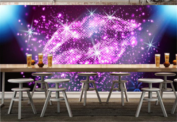 Customized Bar KTV Decoration 3d Wallpaper Starlight Night Dream Red Lips 3d Wallpaper Decoration Interior Beautiful Comfortable Wallpaper