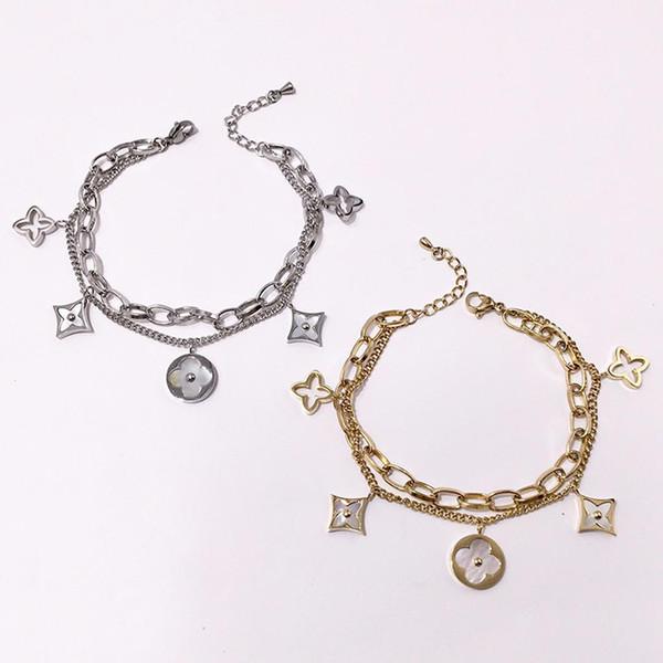 316L Paslanmaz Çelik gümüş yonca kabuk Bilezik lüks tasarım gül altın çiçek kadınlar için iki lline zincirler bilezikler moda takı