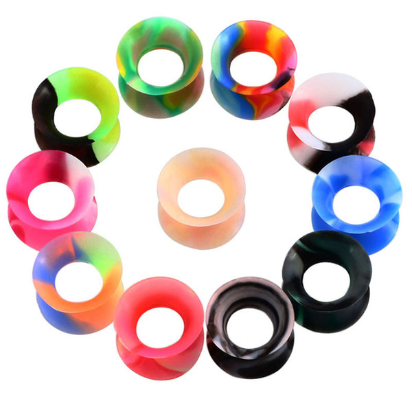 top popular 11 Pairs set Silicone Ear Plugs and Tunnels Flexible Thin Ears Tunnel Double Flared Ear Piercing Flesh Tunnel Ear Gauge Expander Stretchers 2021