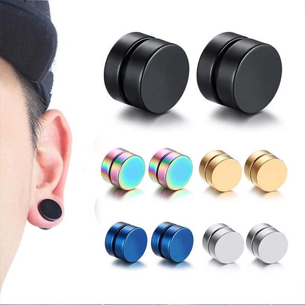 Nuevo 1PC Círculo Clip de oreja Imán fuerte Magnético Aproximadamente 6 mm / 8 mm / 10 mm / 12 mm 5 colores Hombres Mujeres Pendientes sin piercing Joyería de regalo