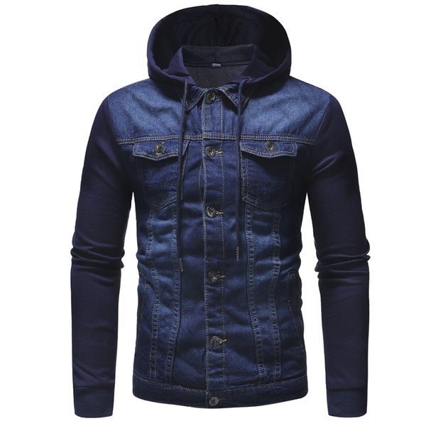 2018 mens' autumn winter hooded vintage distressed demin jacket  coat outwear new fashion single breasted men coats - from $38.52