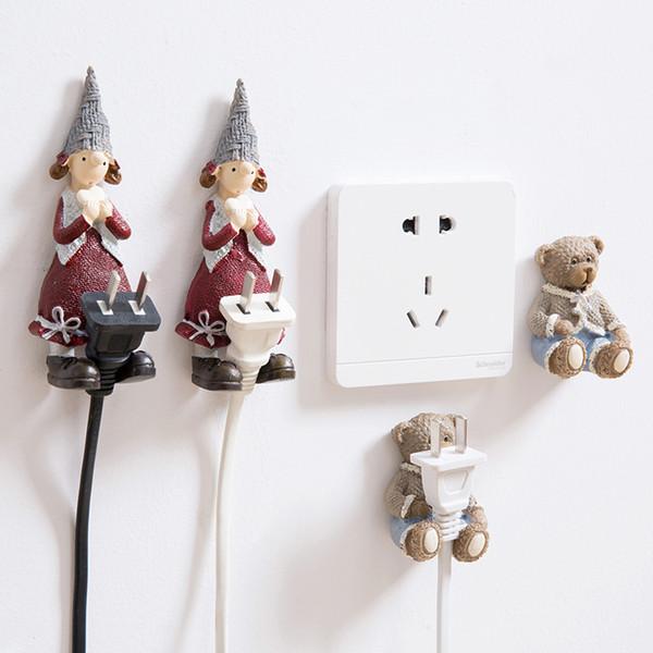 3 stücke Cartoon harz steckdose netzstecker halter wandaufkleber haken für steckdose netzkabel kabel aufhänger halterung home organizer