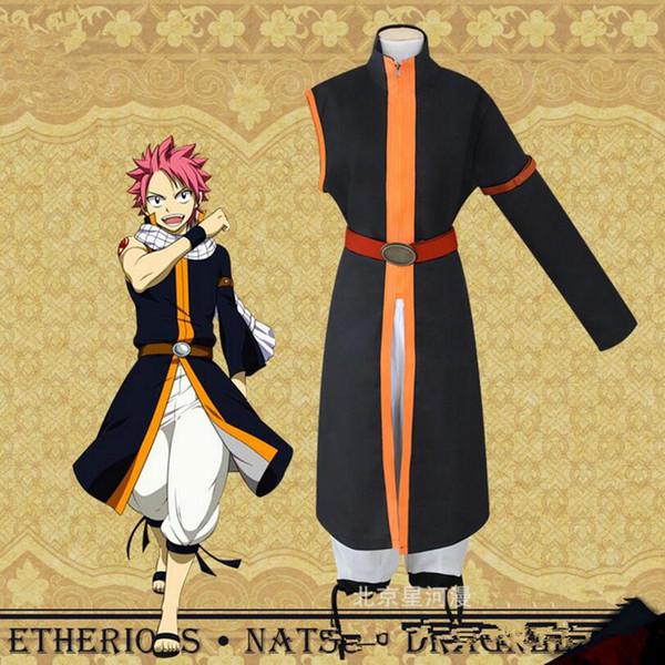 Anime Fairy Tail Natsu Dragneel Cosplay Costumes Uniform Pants Cloak