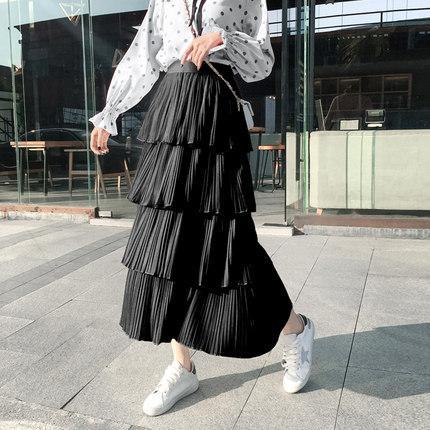 Kadın Moda Katı Renk Pileli Etekler Katmanlı Yeni Yaz Sokak Giyim Rahat 3 Renkler Fırfır Bir Çizgi Uzun Örgü Dikiş Etek