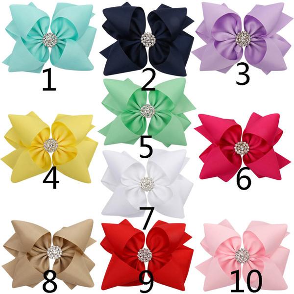 5 '' una creazione Solid Hair Ribbon Bow con strass annodati due strati clip di capelli Stacked Boutique Headwear Accessori per capelli di trasporto