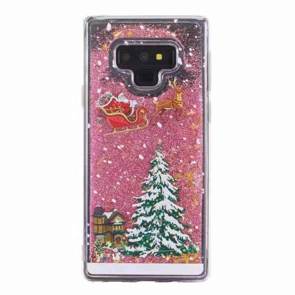 Christmas Quicksand Case Transparent Soft TPU Cover Christmas Gift Glitter Cases for iPhone 8 X Samsung Galaxy S9 Plus with OPP Bag SCA556