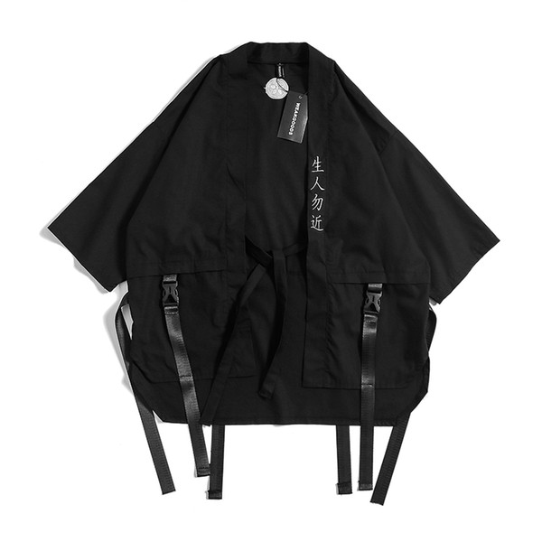 Вышивка китайских иероглифов Китайский стиль Мужские куртки и пальто лето Тонкий японский Harajuku кимоно Мужской Hip-Hop Ribbon Coat