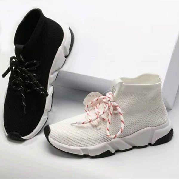 2019 En İyi Kalite Hız Eğitmen Siyah Tasarımcı Sneakers Erkek Kadın Siyah Beyaz Günlük Ayakkabılar Moda Çorap Sneaker En Çizme Size36-45 A