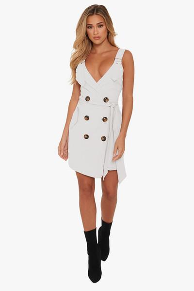 2019 cross-shirt nouvelle robe moulante femme indépendante de la station style chaud ceinture style profond jupe portefeuille