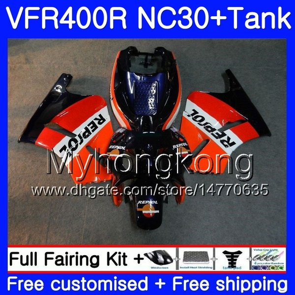 Kit For HONDA Repsol blue hot RVF400R VFR400 NC30 V4 VFR400R 89 90 91 92 93 269HM.19 RVF VFR 400 R VFR 400R 1989 1990 1991 1992 1993 Fairing