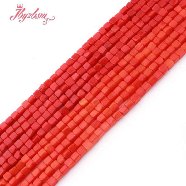 top popular 3mm Coral Red Orange Square Smooth Beads Natural Stone Beads For DIY Necklace Bracelets Earring Jewelry Making 15 2021