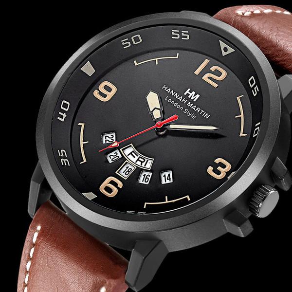 Heren Horloges Top Luxe Merk Mode Sport heren Horloge Lederen Quarzo Militaire Horloge Mannen Dispaly Datum Week Klok Mannelijke