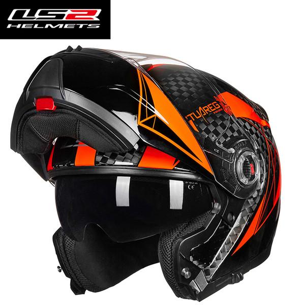 casco levante moto original LS2 FF394 12k fibra de carbono viseras dobles cascos de carreras de motocross modulares con lente interior