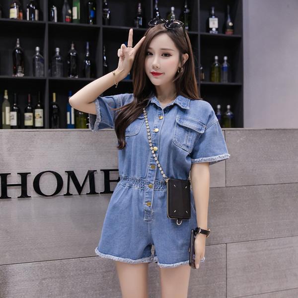 2019 New Fashion Women Jeans Bodysuit Short Sleeve Turn Down Collar Denim Playsuits Cotton Short Jeans Rompers Womens Jumpsuit