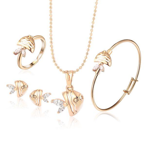 Baby Jewelry Sets Gold-Color Earrings Ring For Children Heart Pendant Necklace Set Bracelet Kids Gift 4S18K-54