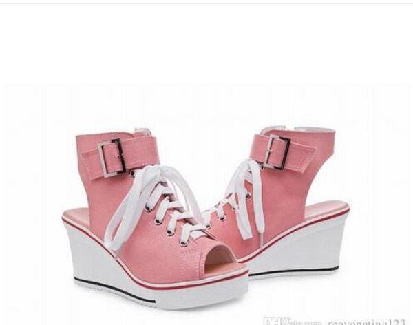 2016 womens canvas sneakers sport wedges high heels woman wedge open toe ladies platform casual shoes sandals plus size 35-43 tenis feminino