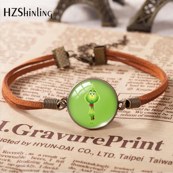 New Fashion 20 mm Bracelets en cuir Comment le Grinch Stole pendentif de verre ronde de Noël Bracelet Bijoux Cadeaux