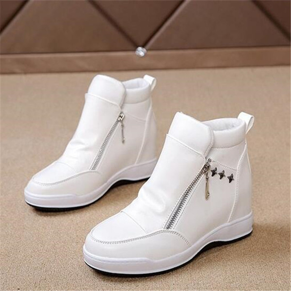 High quality ladies wedge heels white black and ankle boots platform casual boots height increase boots Side zipper X15